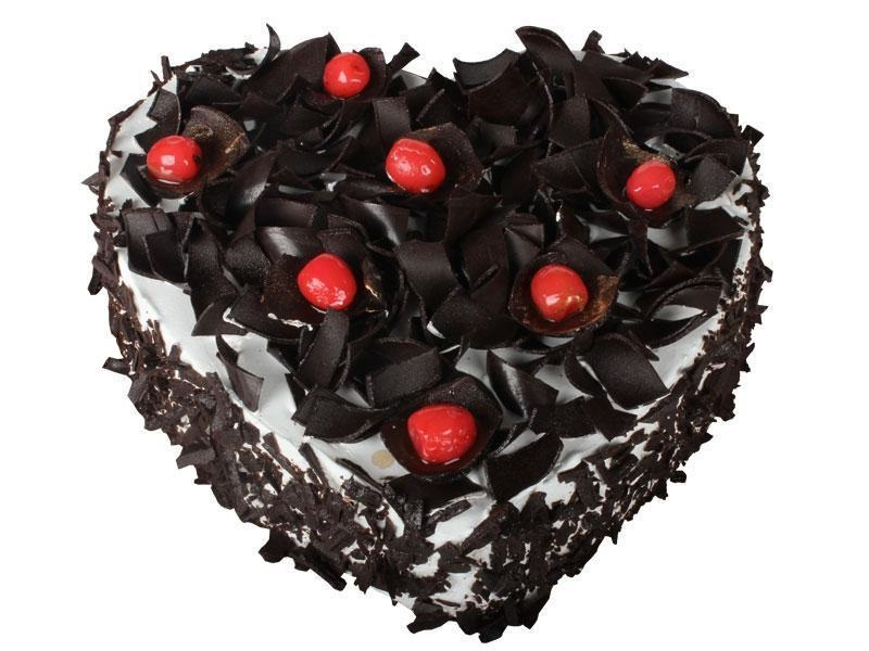 Heart shape black forest cake