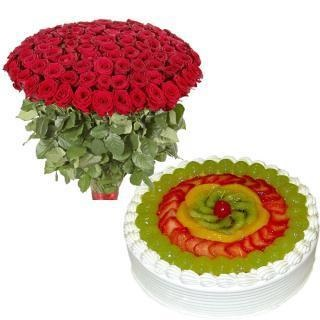 Red roses n fruity treat