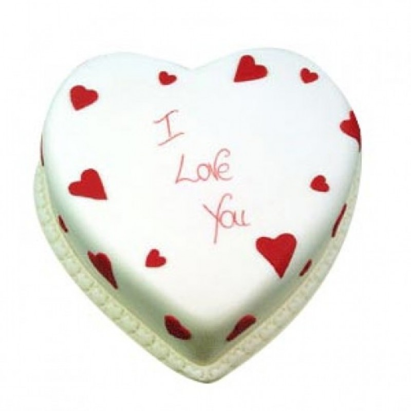 Eggless heart shape vanilla cake