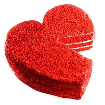 Red velvet heart shape cake