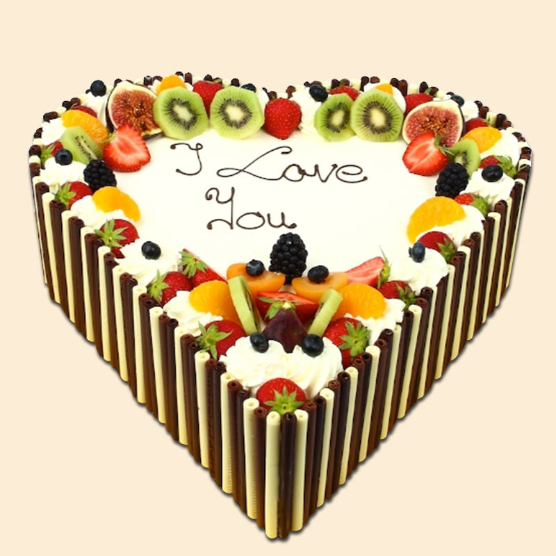 Fruit heart shape cake