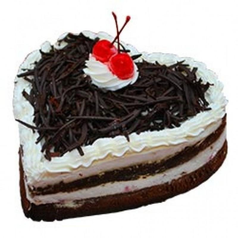 Heart shape eggless black forest cake
