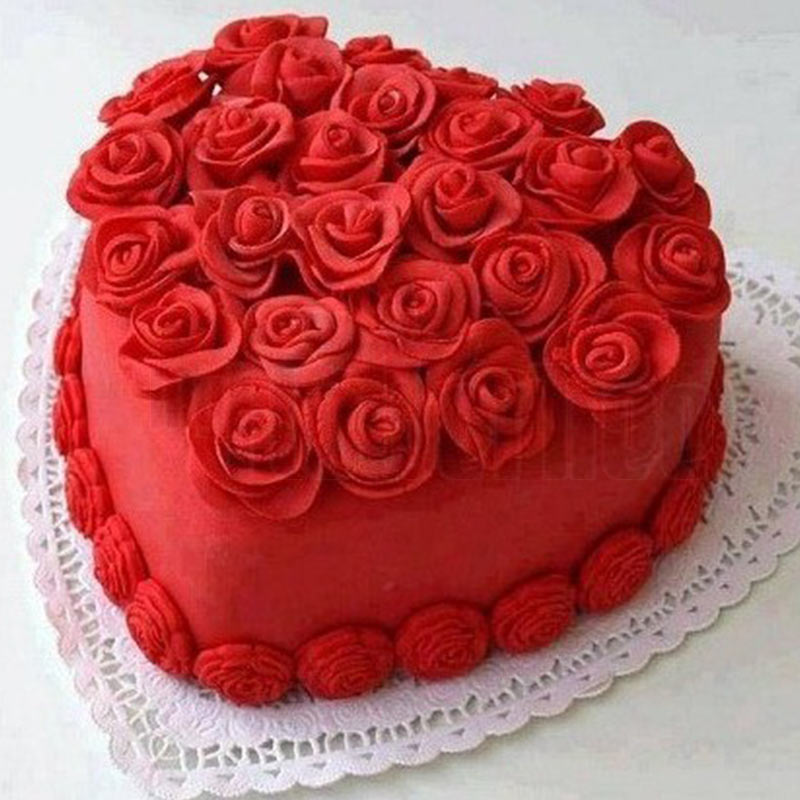Red velvet heart shape cake