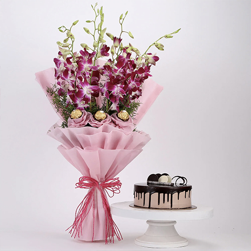 Ferrero orchid bouquet with chocolate cake