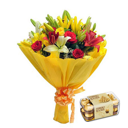 Mixed lilies and chocolate