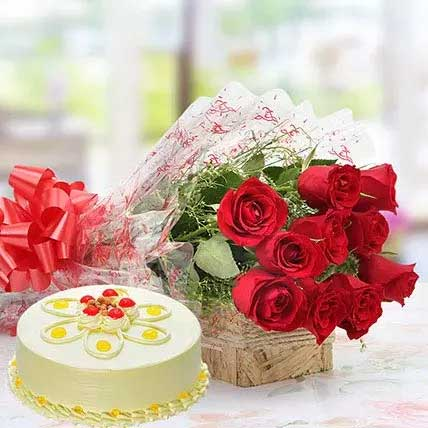 Rose and cake combo