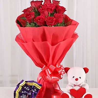Red rose with teddy and chocolate