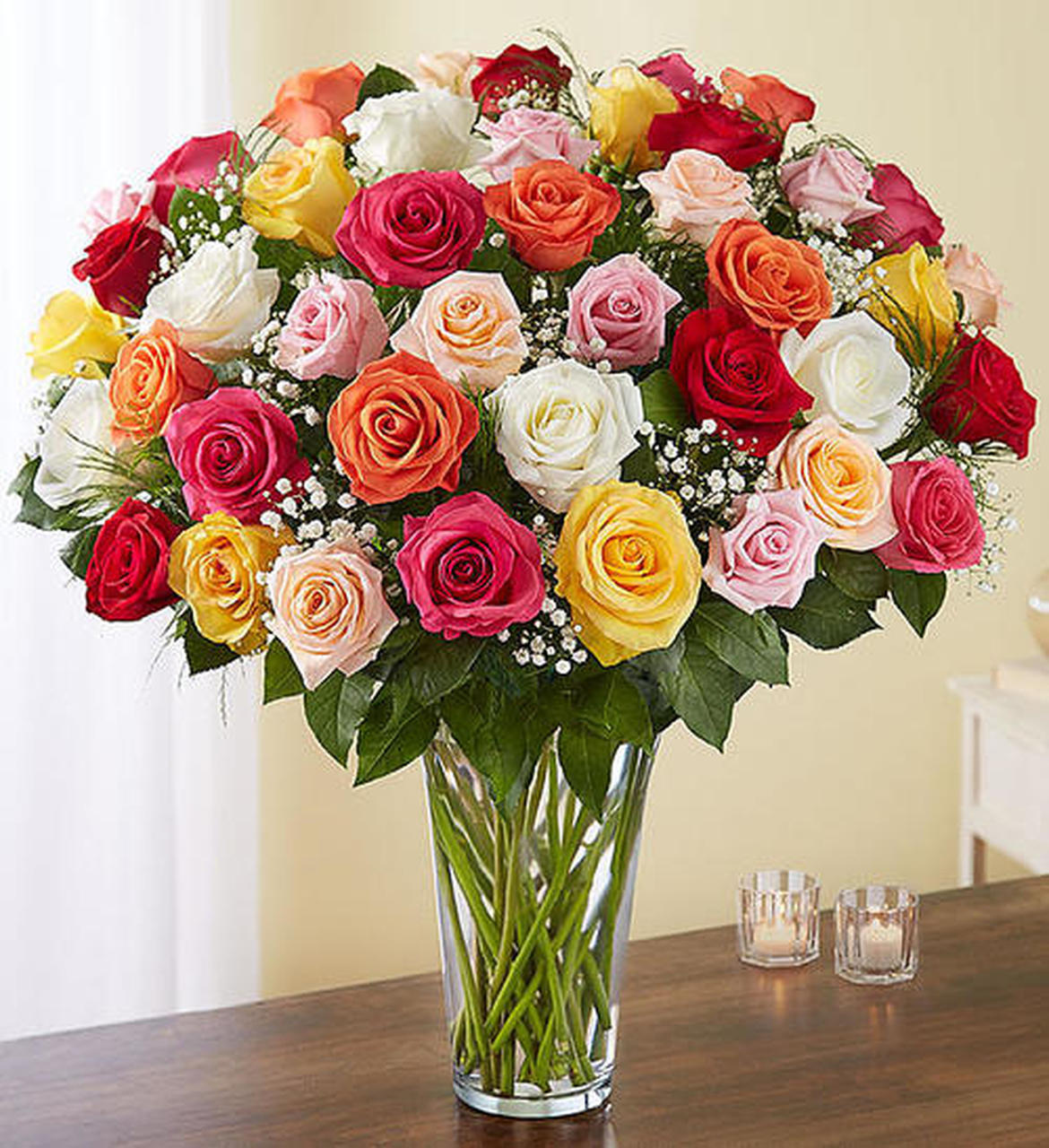 4 dozen long stem assorted roses