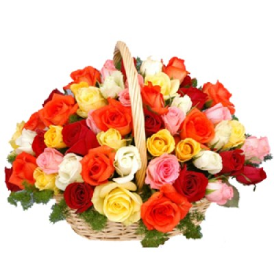 Basket of mix roses