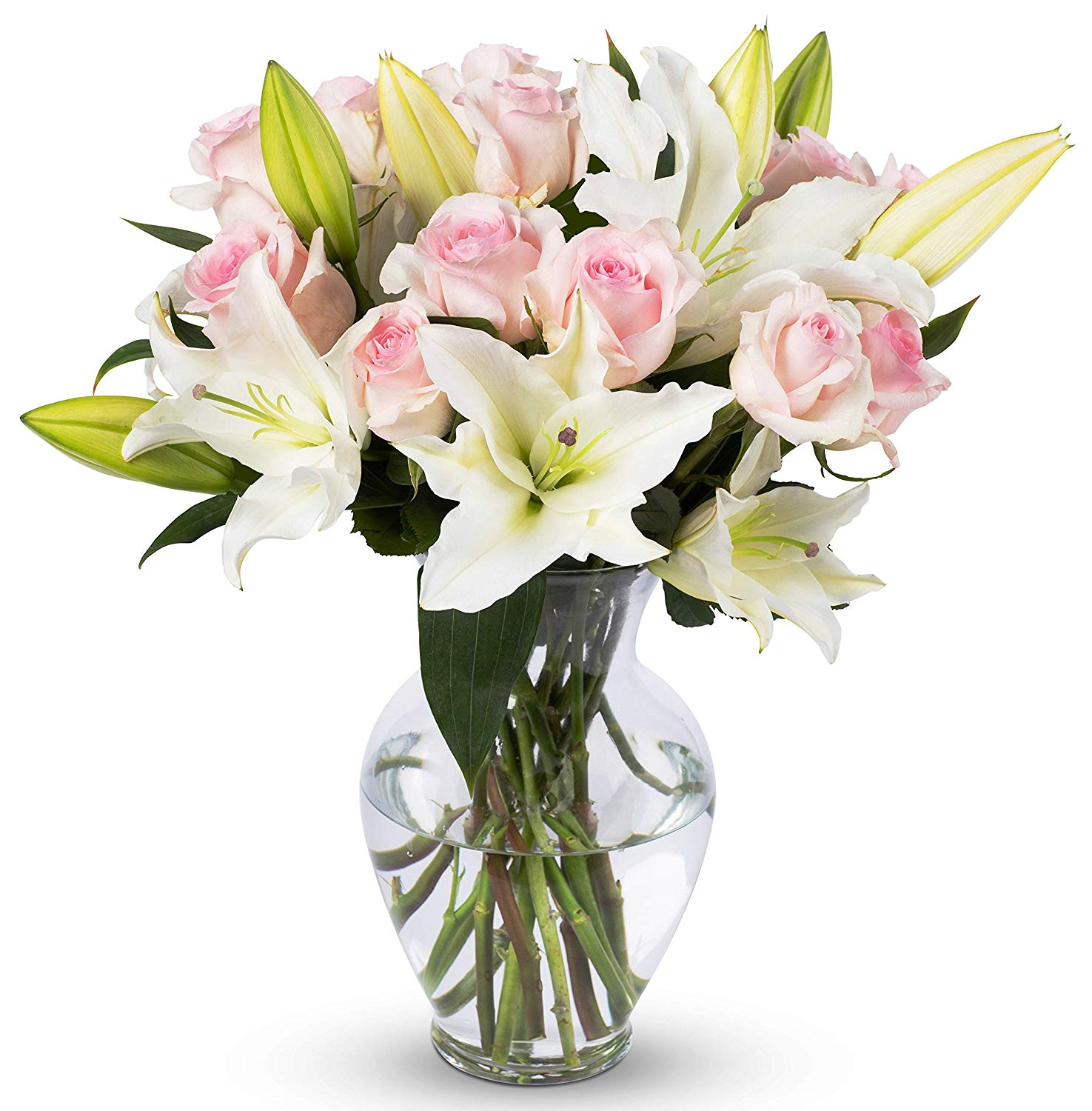 White lilies with pink roses