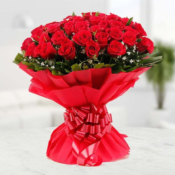 Red roses in red packing