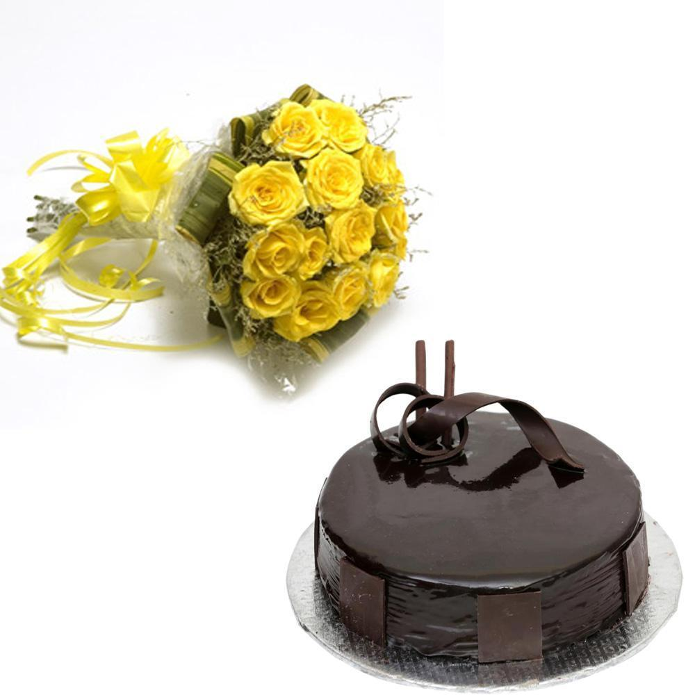 Yellow roses and chocolate cake