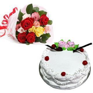Mixed roses and vanilla cake