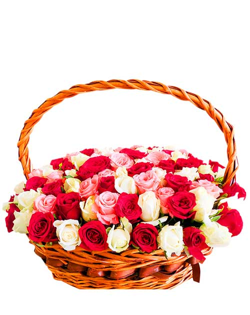 100 mix roses basket