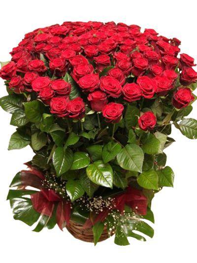 101 roses in basket