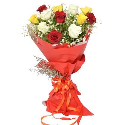 12 multicolored roses