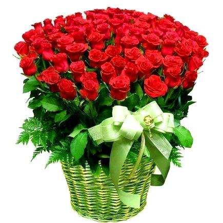 50 long stem rose basket