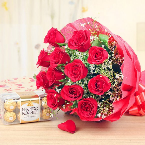 Chocolates with red flowers