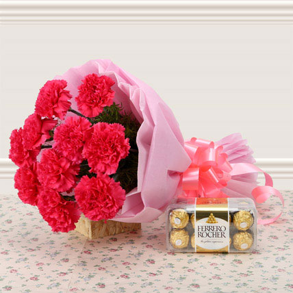 Pink carnation with chocolate