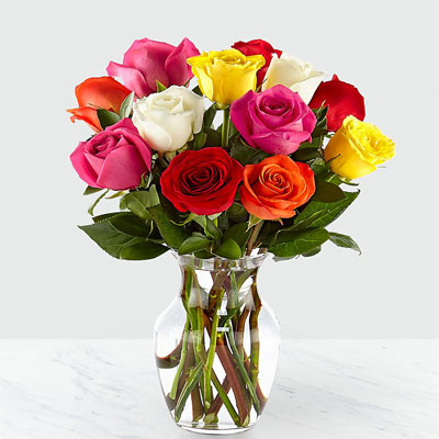 25 assorted mix roses in vase