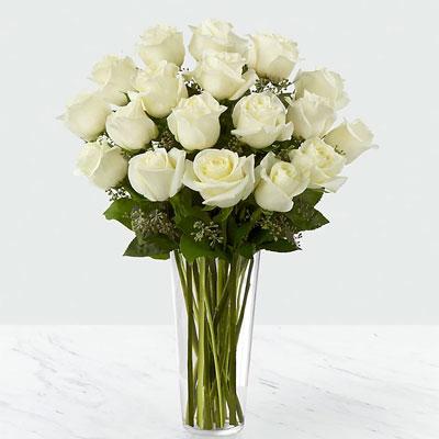 25 white roses in vase