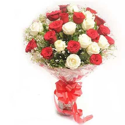 Red and white roses