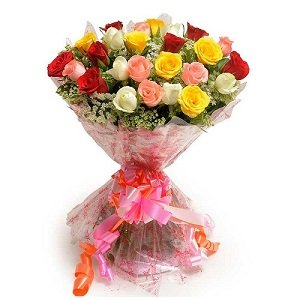 Mix roses bouquet in cellophane