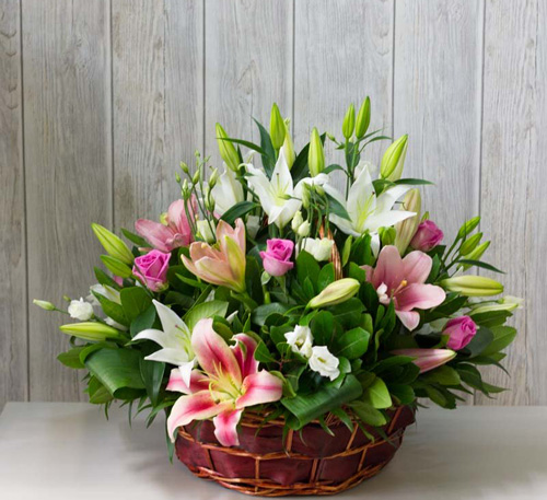Colourful flower basket