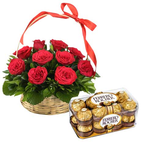 Red rose basket with chocolate