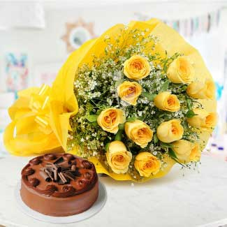 Yellow roses with choco delight