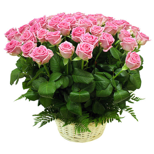 50 pink rose basket