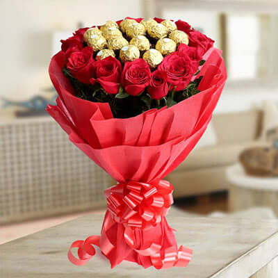 Roses and ferrero bouquet