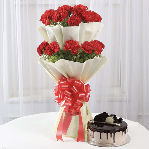 Two layer carantion bouquet with chocolate cake